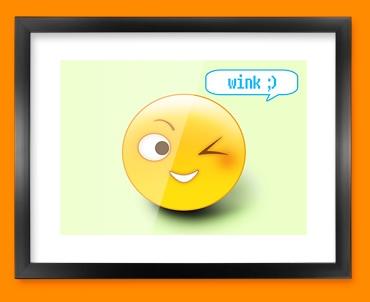 Wink Emoticon Framed Print