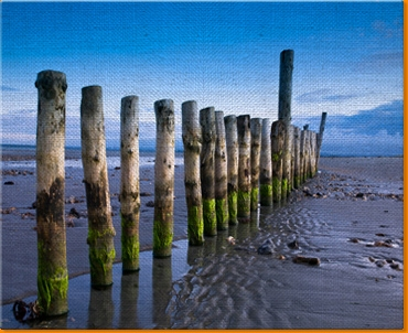 Wittering Beach Posts Canvas Art Print
