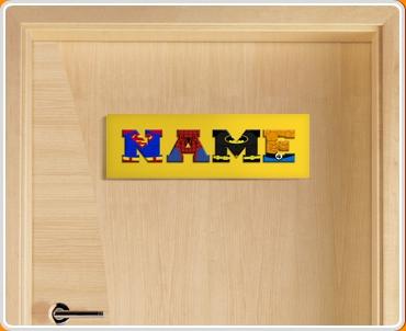 Yellow Superhero Name Bedroom Door Sign