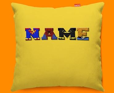 Yellow Superhero Personalised Childrens Name Sofa Cushion