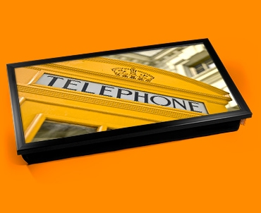 Yellow Phone Box Laptop Computer Lap Tray
