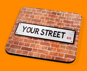 Custom UK Street Sign Drinks Coaster