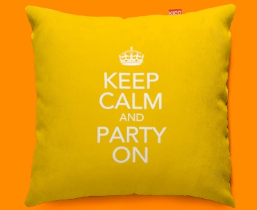 Keep Calm Party On Funky Sofa Cushion 45x45cm