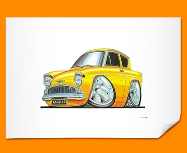 Ford Anglia Car Caricature Illustration Poster