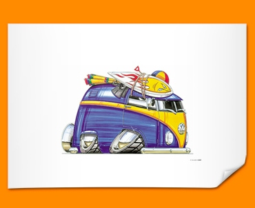 VW Volkswagen Beach Camper Car Caricature Illustration Poster