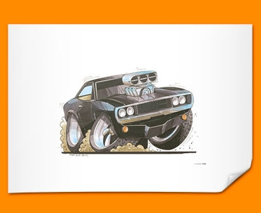 Charger Car Caricature Illustration Poster