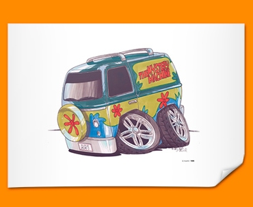 Mystery Machine Van Car Caricature Illustration Poster