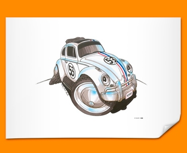 Herbie Beetle Car Caricature Illustration Poster