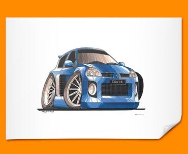 Renault Clio V6 Car Caricature Illustration Poster