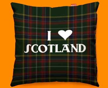 I Love Scotland Green Funky Sofa Cushion 45x45cm