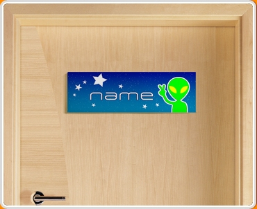 Space Alien Personalised Name Children's Bedroom Door Sign
