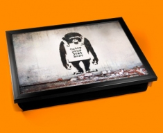 Personalised Banksy Chimp Custom Cushion Lap Tray