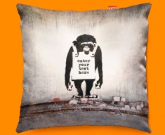 Banksy Chimp Personalised Funky Sofa Cushion 45x45cm