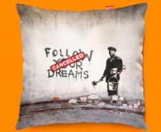 Banksy Dreams Cancelled Funky Sofa Cushion 45x45cm