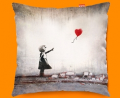 Banksy Heart Balloon Sofa Cushion 45x45cm