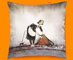 Banksy Street Maid Designer Cushion 45x45cm