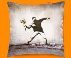 Banksy Thug Flowers Funky Cushions 45x45cm