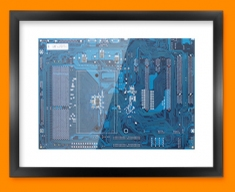 Blue Circuitboard Framed Print