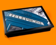 Blue Phone Box Cushion Lap Tray