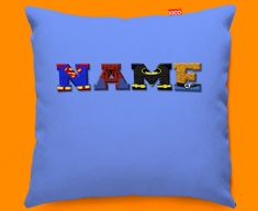 Blue Superhero Personalised Childrens Name Sofa Cushion