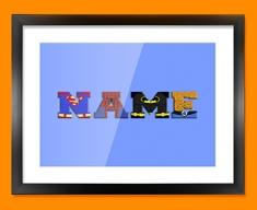 Blue Superhero Personalised Childrens Name Framed Print