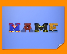 Blue Superhero Personalised Childrens Name Poster
