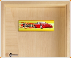 Car Personalised Name Children's Bedroom Door Sign