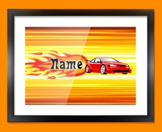 Car Personalised Childrens Name Framed Print