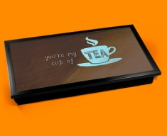 Cup of Tea Typography Laptop Tray