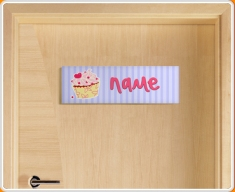Cupcake Personalised Name Children's Bedroom Door Sign