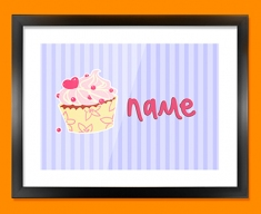 Cupcake Personalised Childrens Name Framed Print