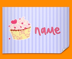 Cupcake Personalised Childrens Name Poster