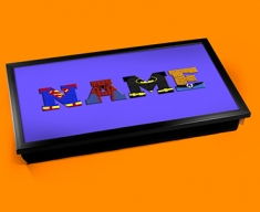 Dark Blue Superhero Personalised Childrens Name Cushioned Laptop Lap Tray