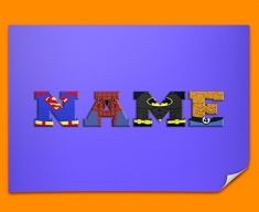 Dark Blue Superhero Personalised Childrens Name Poster