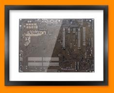 Dark Brown Circuitboard Framed Print