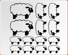 Filled Sheep Set Wall Sticker