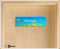 Flowers Personalised Name Children's Bedroom Door Sign