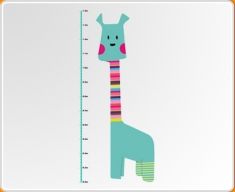 Giraffe Height Chart Colour Wall Sticker