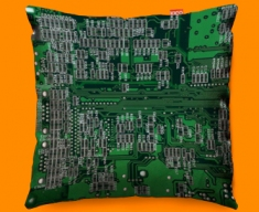 Green Circuit Board Funky Sofa Cushion 45x45cm