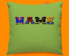 Green Superhero Personalised Childrens Name Sofa Cushion