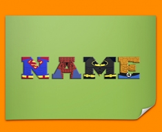 Green Superhero Personalised Childrens Name Poster