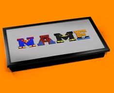 Grey Superhero Personalised Childrens Name Cushioned Laptop Lap Tray