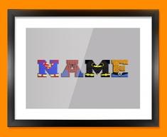 Grey Superhero Personalised Childrens Name Framed Print