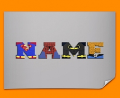 Grey Superhero Personalised Childrens Name Poster