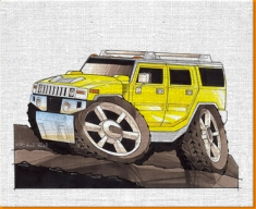 Hummer Canvas Art Print