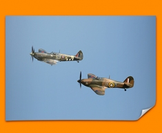 Hurricane Hawker and Spitfire Supermarine Plane Poster
