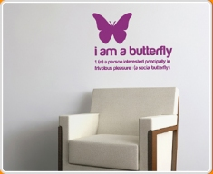 I am a Butterfly Quote Wall Sticker