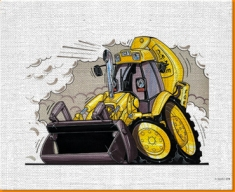 JCB Digger Canvas Art Print