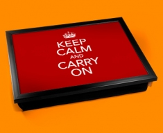 Keep Calm Carry On Cushion Lap Tray