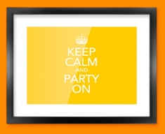 Keep Calm Party On Framed Print